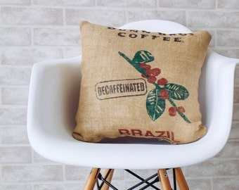 Burlap pillows decorative pillow throw pillow cover Authentic Dunn Bros Coffee Decaffeinated burlap bag