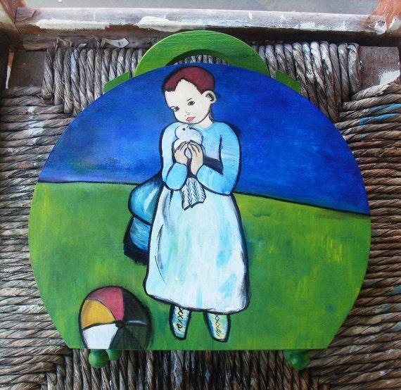 Wooden Box Purse - Handbag - Girl with a dove