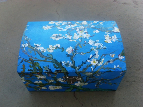 Wooden Box, Wooden Crates, Wooden Storage Boxes, Wooden Keepsake Box, Memory Box, Keepsake Box, Blossoming almond tree branches
