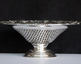 Ornate Silver Plate Lattice Pierced Pedestal Dish by Lawrence B. Smith