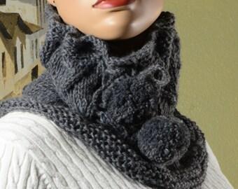 Knitting  Snood ,Hood  Knitting Snood Scarf , knit hood, Knit Cowl Pom Pom scarf