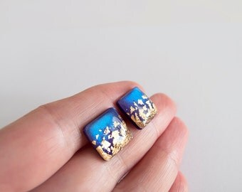Blue Violet Gold Square Stud Earrings - Hypoallergenic Surgical Steel Post