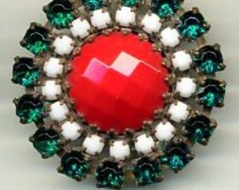 Czech glass rhinestone button - red stone with white and green rhinestones - size 15, 33mm RS 42
