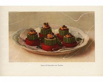 Original Antique  Culinary Art Print  Caisses De Concombre Aux Tomates.
