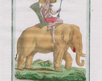 Original Antique French Costume Hand Colored Engraving - Maluku Indonesia Asia elephant costume 1780
