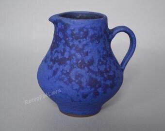 Blue pitcher vase  by Hoy -  German  studio pottery