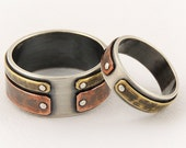 Unique engagement rings set - wedding band set,wedding ring set,engagement gift idea,mixed metal ring,unique wedding ring set