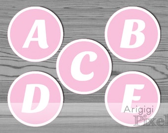 Printable Letters for DIY Personalized Party Banner, Alphabet White Pink, Pink Circle Letters, Download