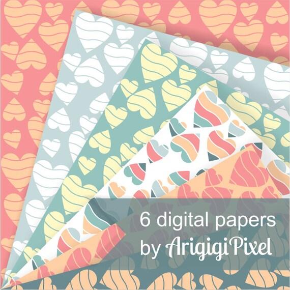 Valentine's Day  digital sheet with hearts - pastel orange pink blue -  for scrapbooking - download