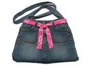 Jeans purse - Stitching Pretty - upcycled with decorative stitching
