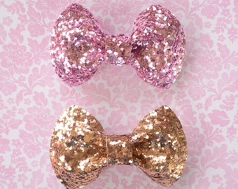 Cameo Pink and Gold Glitter Hair Bows