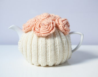 Cream Hand Knit Tea Cozy with Peach Crocheted Flowers.Teapot Cozy. Knitted Tea Cozy. Tea-Lovers Gift.