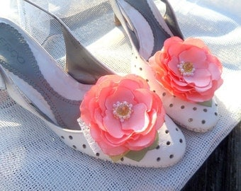 Peach Shoe Clips, Peach coral flowers, Silk Flower Wedding , Accessories  wedding , Accessories  women , salmon flowers , Shoe Accessories