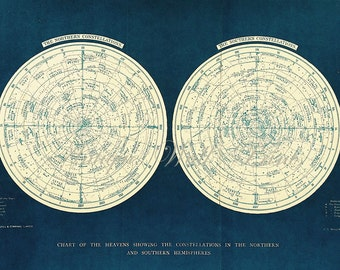 LARGE BLUE Double Star Chart - North and South Constellations - print