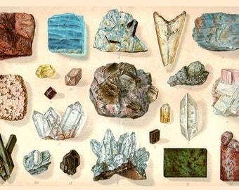 INSTANT DOWNLOAD Antique GEMSTONES Natural Science Gems Geology Chart digital image vintage high resolution illustration clip art to print