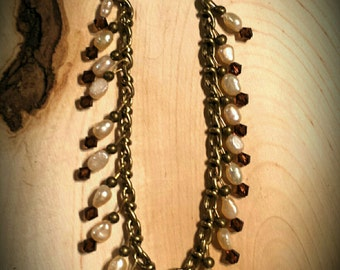 Cream Colored Freshwater Pearls and Amber Swarovski Crystals on 8 Inch Brass Chain Bracelet