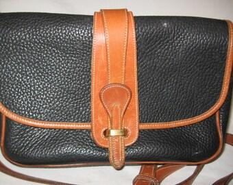 Vintage Dooney And Bourke Cross Body Black And Brown All Leather Handbag/ Dooney And Bourke Handbags