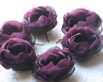 Purple hair flowers Deep purple hair flower Aubergine flower Purple hair clip Purple wedding Eggplant wedding Purple bridemsaids Purple gift