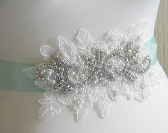 Mint wedding sash Mint bridal sash Pale mint sash Rhinestone sash Mint lace sash Mint ivory sash Mint sash Mint bridesmaid sash Mint wedding