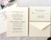 The Buttercup Suite - Classic Letterpress Wedding Invitation Suite on Ecru paper with Black Ink and inkless border, Traditional, Formal