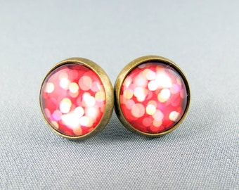 Stud Earrings Glass Cabochon - Summer Nights