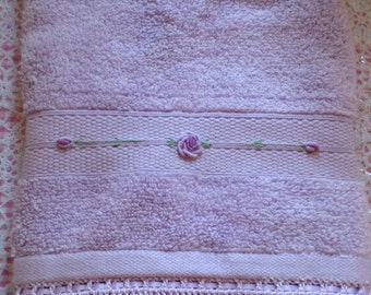 Mauve Deluxe Embroidered Hand Towel