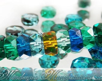Czech Faceted Aqua/Emerald/Topaz Mix(9047) 5x3mm