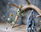 Holly Berries Hand Painted Christmas Tree Ornaments: Three Handpainted Clear Glass Ball Christmas Tree Decorations