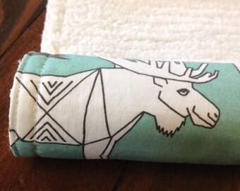 Burp Cloth ~ Geometric//Tribal//Triangle//MOOSE//Nature//Aqua//Woodland