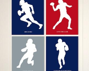 Football wall art, boys room art, football player art, boys inspirational art, football, set of 4, choose your colors