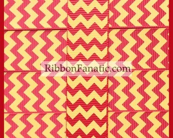 "5 yds 7/8"" Crimson Red and Yellow Gold Chevron Striped Grosgrain Ribbon"