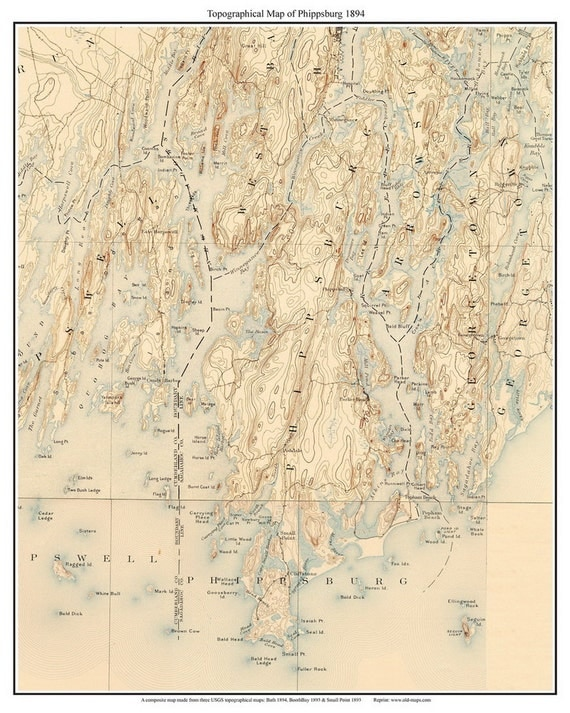 Phippsburg Maine Old USGS Old Topo Map Custom Reprint - Topographical map of maine