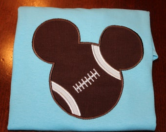 Youth Football Mickey Mouse Applique Shirt