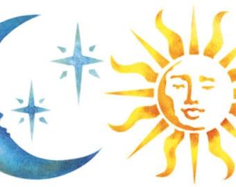 Sun Moon and Stars Stencil