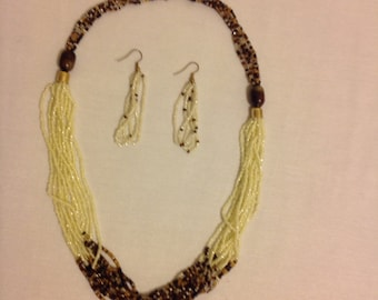 Yellow & brown seed bead necklace