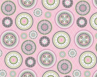 HALF YARD PINK Gray Brown Lilac, White, Blue Moroccan Eastern Quilting Cotton - Silk Road Pink, Green, Slate Grey Medallions