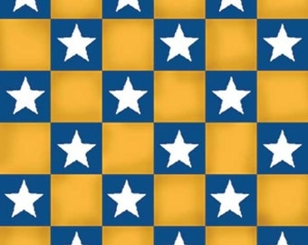 HALF YARD Quilting Cotton - Boy Scouts of America Patriotic Star Gold Check by Quilting Treasures