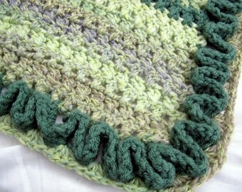 Hand crocheted green and lavendar striped lap afghan / funky afghan