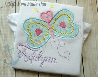 HEART BUTTERFLY machine embroidery design