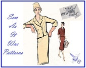 """1950s Vogue Couturier Design 998 Fabiani Italy Double Breasted Suit Crop Collar Jacket Slim Skirt Vintage Sewing Pattern Size 14 Bust 34"""""""