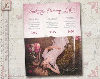 Marketing Board- Photography Package Pricing List Template- Photographer Price List vol.21