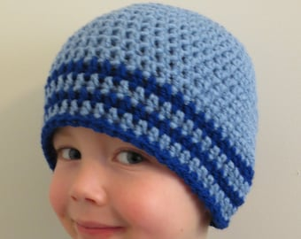 CROCHET BLUE Striped BEANIE hat, boy photo props, winter hat, baby shower gift , available in preemie to toddler, baby boy, boutique quality
