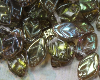 Sappherit Luster Czech Glass Leaves, 24 Beads - Item 1715