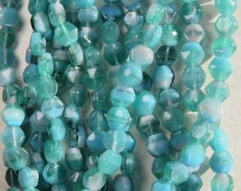 Lavender and Seafoam Blue Green Czech Hexagon Glass Bead, 24 Beads  - Item 1992