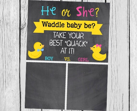 Items similar to Duck Theme Gender Reveal- He or She- Waddle Baby Be- Digital Chalkboard Cast ...