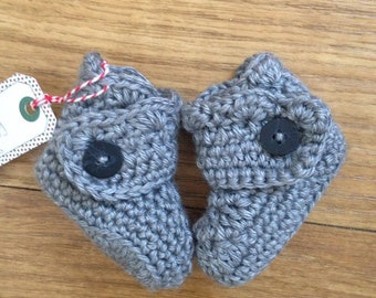 Crochet Baby Ugg Boots   Button Detail   Multiple Colors   Made to Order