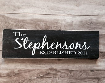 Custom family name sign - Personalized with date plaque