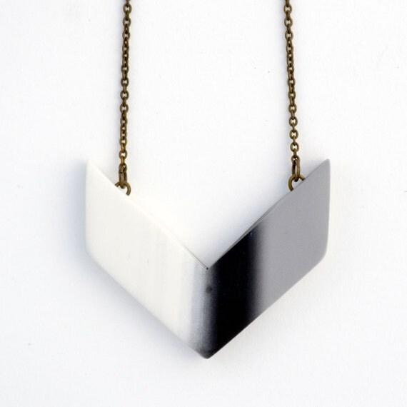 ooak chevron necklace minimal jewelry geometric pendant