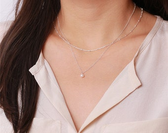 Ivory mother of pearl drop - sterling silver necklace - every simple jewelry