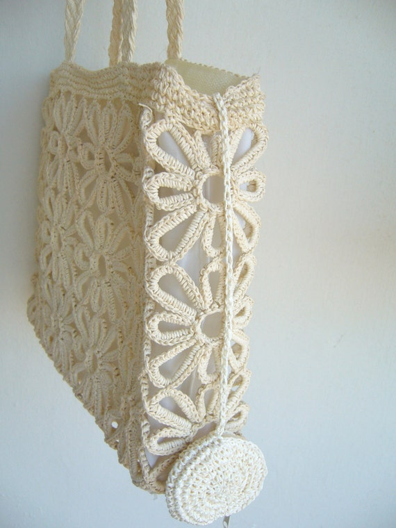 Crochet Bag Strap : Crochet bag oatmeal with long strap /women bag crochet